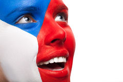Close up of painted woman face. Stock Images