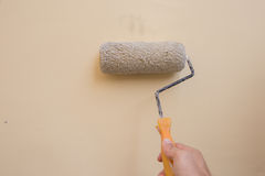 Close up of painter hand with paint roller. On wall background Stock Images
