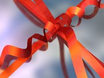 Close-up painting of a gift box (ribbon and bow) Royalty Free Stock Photo