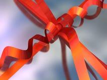 Close-up painting of a gift box (ribbon and bow) vector illustration