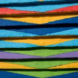 Close up of bright, patterned paintwork on house on the island of Burano, Venice, Italy stock photography