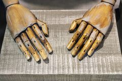 Close-up pair of wooden dummy hands. Tired, manicure, worn, out, outworn, exhausted, polished, phalange, concept, background, finger, human, male, symbol stock photo