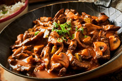 Close up of a pan of beef stroganoff Royalty Free Stock Photography