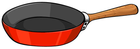 Close up pan. Close up frying pan with wooden handle stock illustration