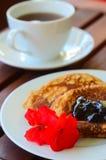 Close-up Pancake  with marmalade Royalty Free Stock Photo