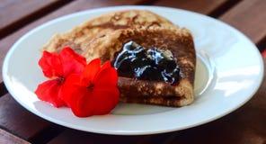 Close-up Pancake  with marmalade Stock Photography