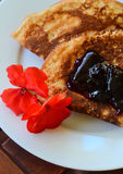 Close-up Pancake  with marmalade Stock Photo