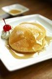 Close up pancake and syrup Stock Image