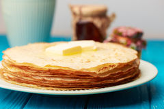 Close up at pancakes with butter Royalty Free Stock Photography