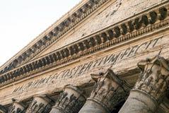Close up of the Pantheon pediment with latin inscription. Corinthian capital columns, Rome, Italy Stock Photo