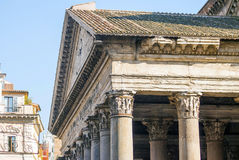 Close up of the Pantheon pediment with latin inscription. Corinthian capital columns, Rome, Italy Royalty Free Stock Photography