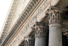 Close up of the Pantheon pediment with latin inscription. Corinthian capital columns, Rome, Italy Royalty Free Stock Image