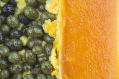 Close up of papaya fruit texture Stock Image