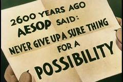 Close-up of paper with Aesop''s advice written on it stock video footage
