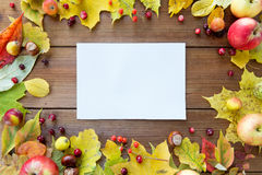 Close up of paper with autumn leaves and fruits Stock Photo