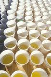 Close-up of paper cups of water for runners in Marine Marathon, Washington, D.C. Stock Photo