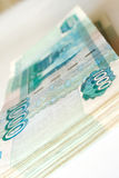 Close up paper money russian ruble Stock Photo