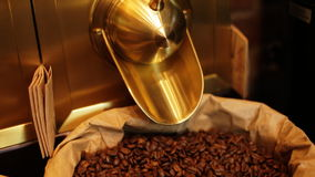 Close up of paper stand-up poucheswith coffee beansinside for sale in a local cafeteria. stock video footage