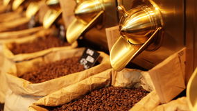 Close up of paper stand-up poucheswith coffee beansinside for sale in a local cafeteria. stock footage