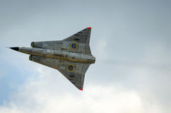 Close up para Saab 35 Draken em voo Fotografia de Stock