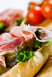 Close up of a parma ham sandwich Royalty Free Stock Photography