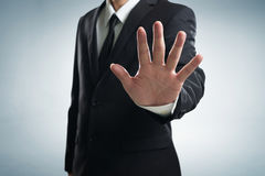 Close up part of man body in black suit stock photography