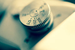 Close up of the part of old camera. Royalty Free Stock Photos