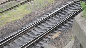 Close up on part of railroad track.  stock footage