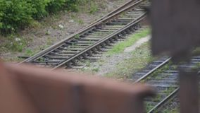 Close up on part of railroad track.  stock video footage
