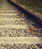 Close up on part of railroad track Stock Image