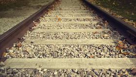Close up on part of railroad track Royalty Free Stock Photos