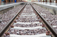 Close up on part of railroad track from top view Royalty Free Stock Photography