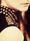 Close up part of woman face with stud collar Royalty Free Stock Photo