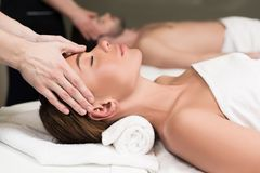 Free Close-up Partial View Of Young Couple Having Massage In Spa Royalty Free Stock Photography - 119803487