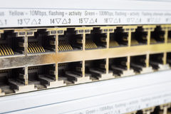 Close-up partially view of LAN network Stock Photos