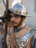 Close-up of participant the medieval costume party. Taggia, Italy - March 17, 2018: Participants of medieval costume party in the historic city of Taggia in stock image
