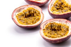 Passion fruits isolate on white background.Passion fruit is a flowering tropical vine. Close up Passion fruits isolate on white background.Passion fruit is a stock photography