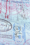 Close up Passport page. Close up of passport page with stamps Stock Illustration