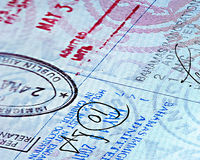 Close up Passport page. Close up of passport page with stamps vector illustration