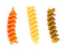 Close-up pasta eliche tricolori. Stock Photography