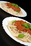 Close up pasta ragu alla bolognese sauce on black Stock Photography