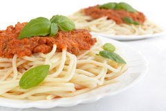 Close up pasta ragu alla bolognese sauce on white Stock Photos