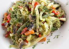 Close up of pasta with vegetables Stock Photography