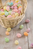 Close Up of pastel colored Easter egg cancy in wicker basket. Close up of pastel colored Easter egg candies in wicker basket Stock Photos