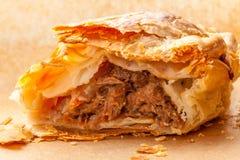 Close up pastoso da carne e do vegetal aberto Fotos de Stock Royalty Free