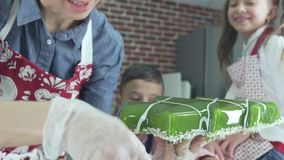 Close-up of pastry cake decorate freshly prepared using coconut flakes. stock video footage