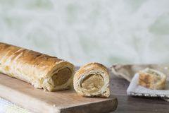 pastry roll with almond paste, snack for Easter or Sinterklaas Eve in The Netherlands stock image