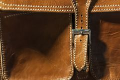 Close up path leather brown bag belt classic briefcase royalty free stock images