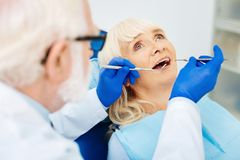 Close up of the patient at the dentists royalty free stock photo