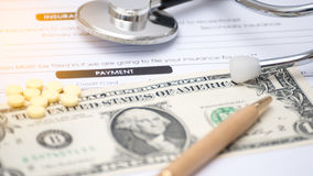 Close-up of patient information PAYMENT concept,Stetoscope and m Stock Image